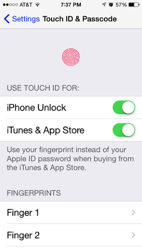 Touch ID & Passcode settings