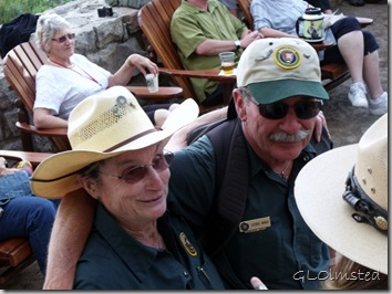 Nancy and George Lodge veranda Western Arts Day North Rim Grand Canyon National Park Arizona