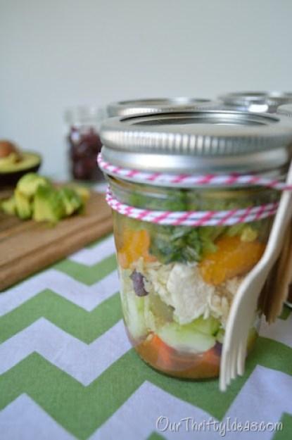salad in a jar using Kraft Fresh Take's Rosemary & Roasted Garlic.