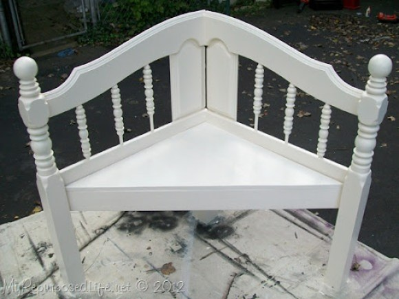 full sized bed into a corner bench