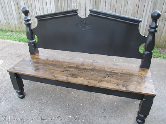 repurposed headboard into bench