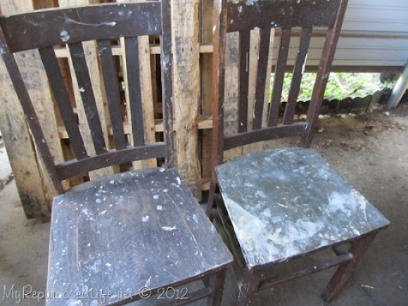 shabby brown chairs
