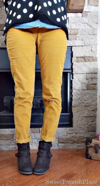 Mustard pants, black and white polka dots with brown booties2