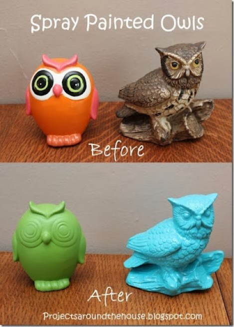 spray painted owls