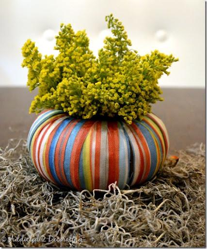 jarrón calabaza miniatura - mod tiras de tela Podge