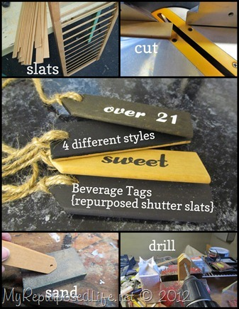 shutter slats repurposed beverage tags