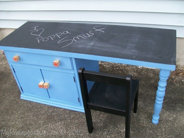 repurposed nightstand into a child's desk MyRepurposedLife.com