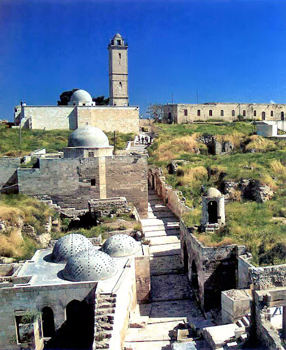 View of the upper and lower mosques in the Aleppo Citadel.