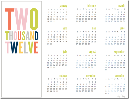 2012 Calendar Free Download via Red Stamp