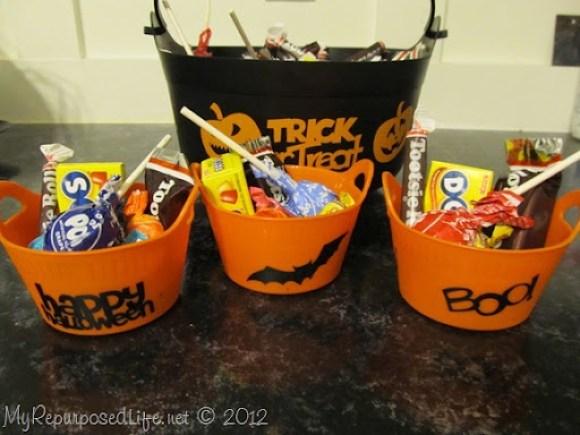 Halloween buckets with Vinyl