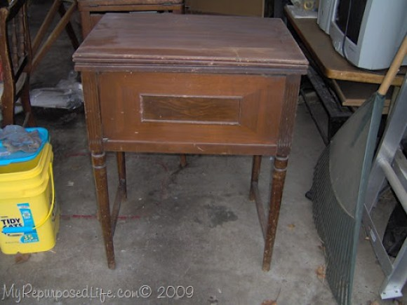 thrift store sewing machine cabinet
