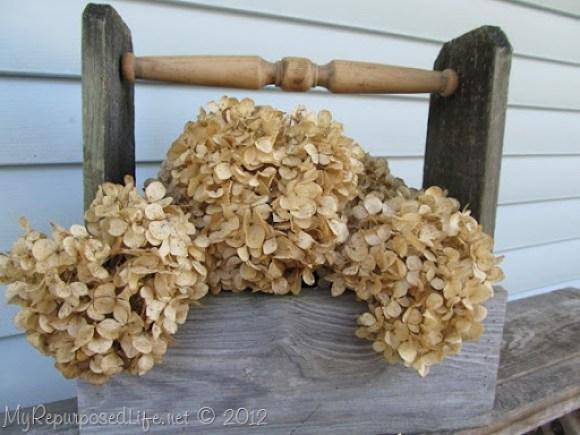Rustic Tool Caddy Dried Hydrangeas