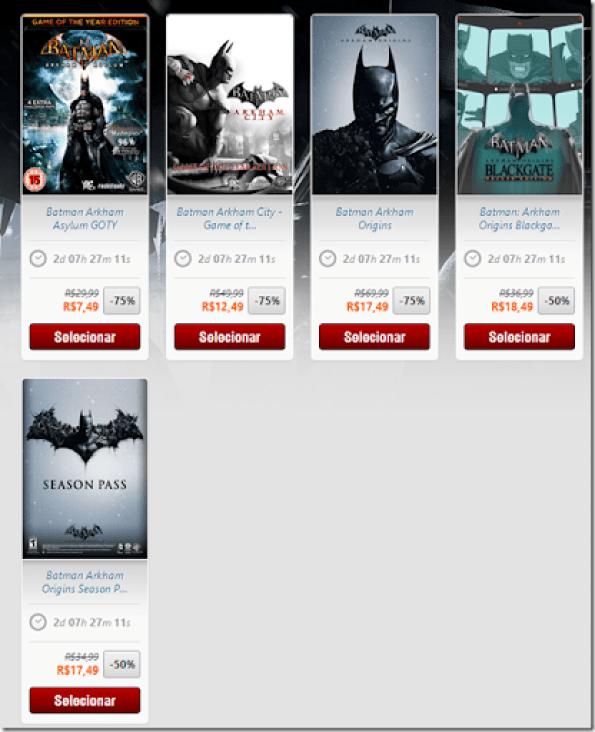Promoção da série Batman na Nuuvem com desconto de até 75%