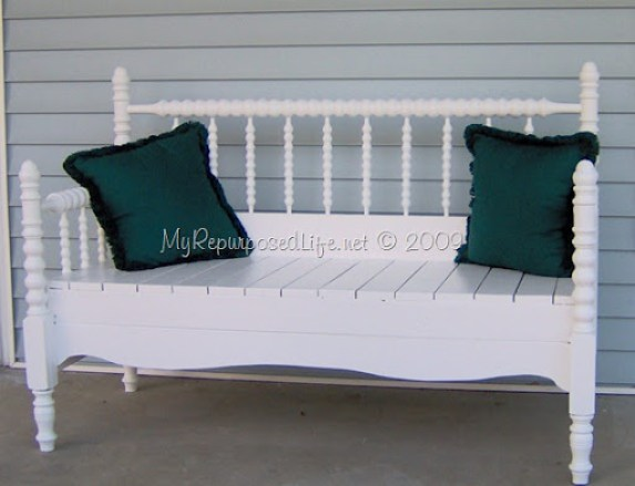 pretty white spool headboard bench