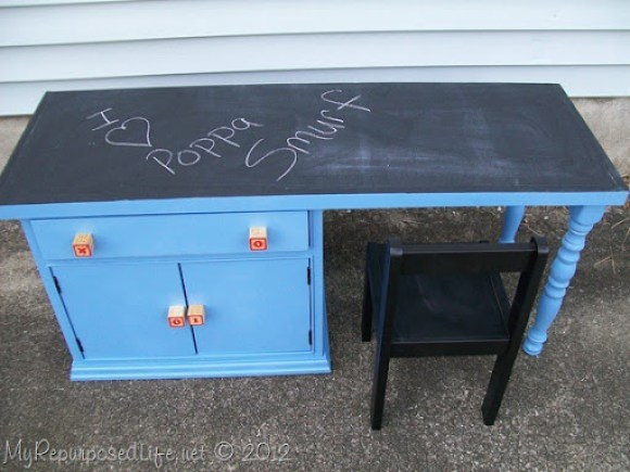 kids chalkboard desk made from a nighstand