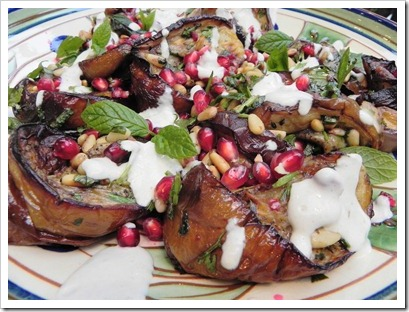 Roasted aubergine and garlic salad