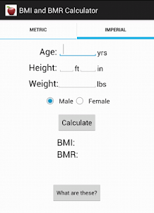 BMI and BMR calculator screenshot 1