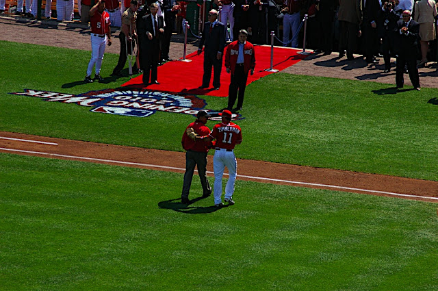 The President and Ryan Zimmerman walk back to the dugout