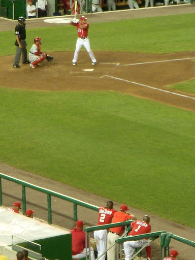 Morgan watches Zimmerman during the last at-bat of the game