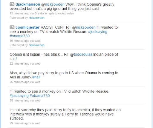 Screenshot of @NickSowden calling @BarackObama a monkey during #obama730