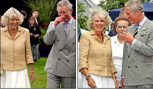 two photos of Charles, Prince of Wales and his wife Camilla, Duchess of Cornwall, laughing together