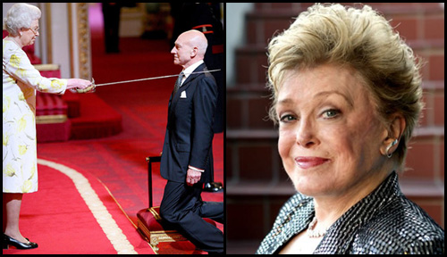 Two panels: (L) Actor Patrick Stewart is knighted by HM Queen Elizabeth at Buckingham Palace, (R) headshot of actress Rue McLanahan