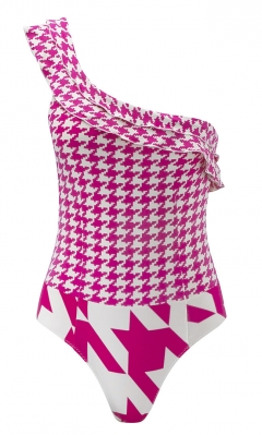 Lola Asymmetrical Pink Houndstooth Swimsuit by Pistol Panties at Clickini