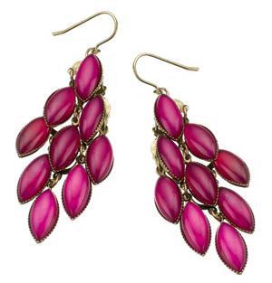 Fuchsia beaded chandelier earrings by Accessorize