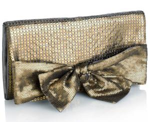 Metallic Sequin Bow Clutch by Accessorize