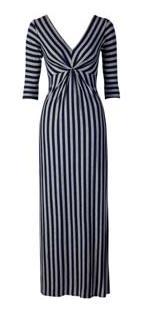 Grey and Navy Long-Sleeved Maxi Dress by Louche at Joy