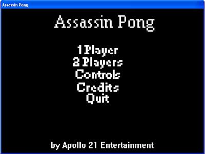 Assassin Pong Menu