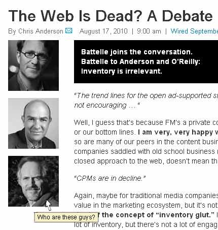 Screenshot of Wired.com, photos of Clay Shirky, John Battelle, and Tim O'Reilly