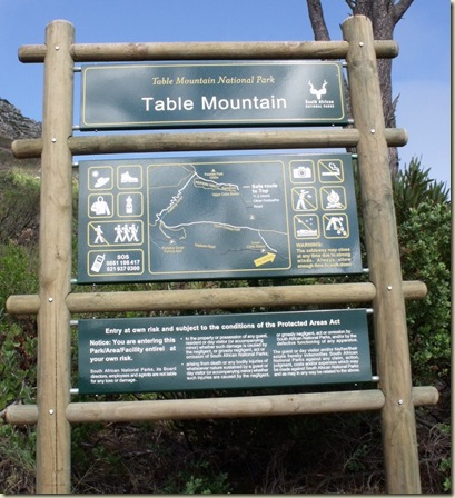 Table Mountain trailhead sign Table Mountain National Park Cape Peninsula South Africa