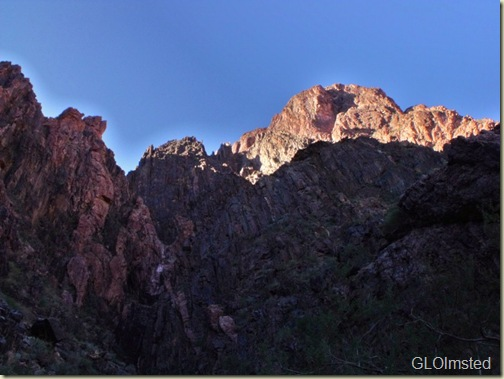 Light on canyon walls and quartz intrusions from River trail Grand Canyon National Park Arizona