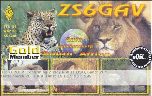 ZX6GAV to KC2QFR 20m PSK31 40w