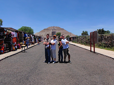 The crew at the entrance. Pyramid of the Sun in the background.