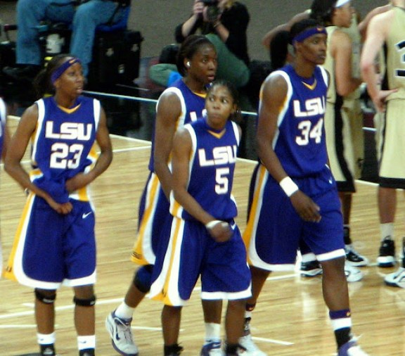 The Lady Tigers in a game vs. Vanderbilt during the SEC Tourney, March 4. LSU lost but they are in the final four! And Vandy isn't.