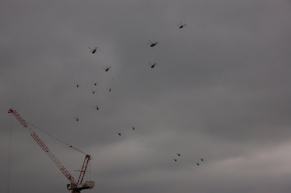 The Flypast turning over a construction site