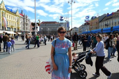 Steph in the main square in Zagreb, Croatia