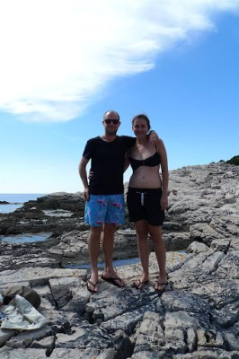 We found this amazing place to swim. The rocks dropped off like a cliff in to the ocean and the water so soooo clear!