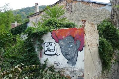 Street art opposite our Hostel