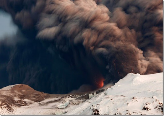 Lightning, smoke and lava above Iceland's Eyjafjallajokul volcano on April 17, 2010. (REUTERS/Lucas Jackson) #
