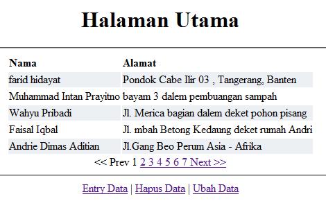halaman utama menggunakan teknik paging
