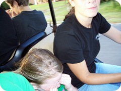 Riding on the golf cart