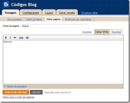 nova pagina blogger