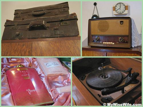 Vintage items from top left (clock-wise): Traveling baggage, radio, vinyl record player, talc