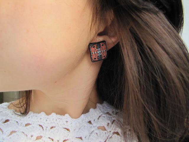 Cercei handmade cu clips, iluzie rustica, model elegant