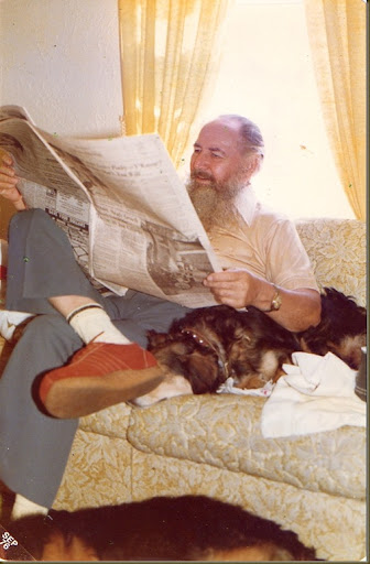 grandpa and shep reading the paper