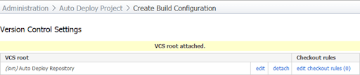 Configuring the VCS root for the project