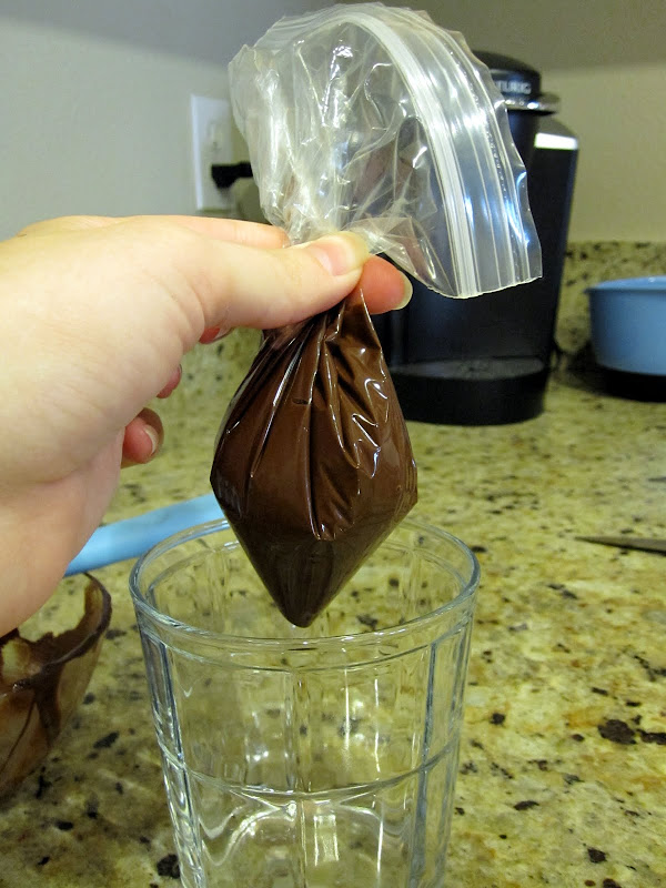 piping chocolate with a zip lock bag